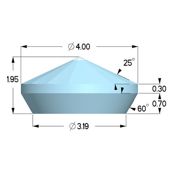 Type 1a; Boehler Almax Design; X=4.00mm, 80deg