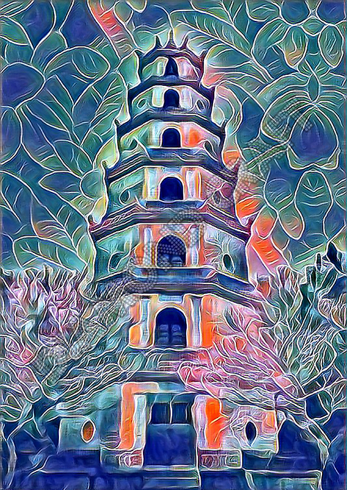 Amazing diamond painting of Pagoda of the Celestial Lady in Vietnam pink orange and blue art with flower detaill