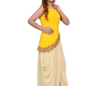 Yellow Saree Pant Suit