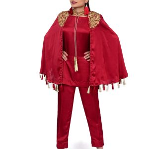 Maroon Gown Suit with Straight Pants