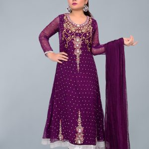Purple Froch on Chiffon with Dupatta