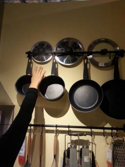 Hanging racks should be installed at a height where the topmost item is comfortably reachable.
