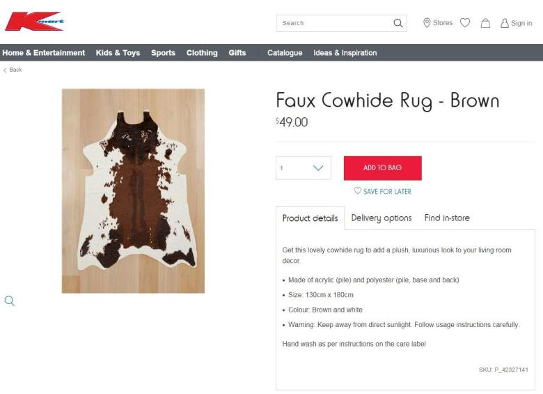 Kmart Cow Hide Rug