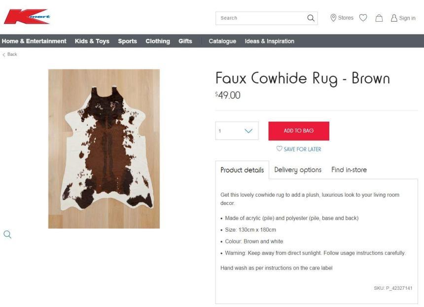 Kmart Cow Hide Rug