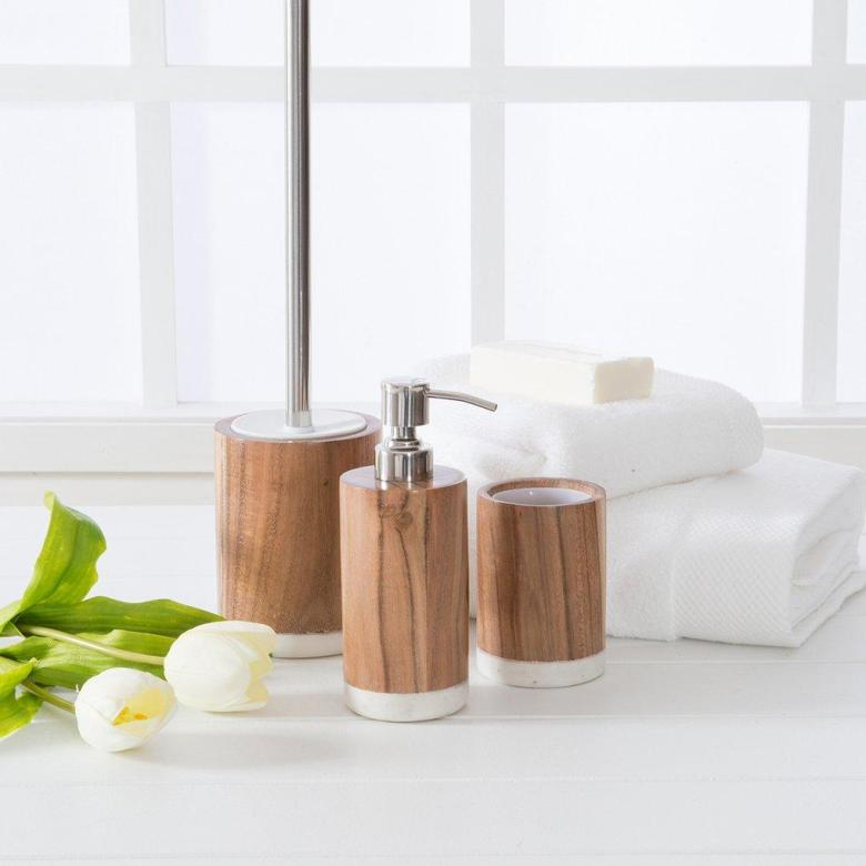 Timber and marble bathroom accessories