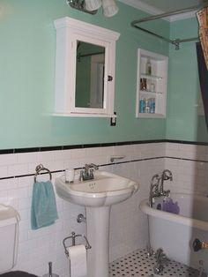 Mint green painted wall