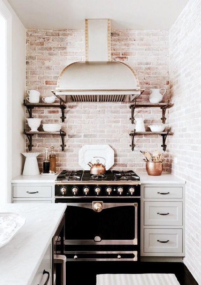 Exposed brick kitchen splashback