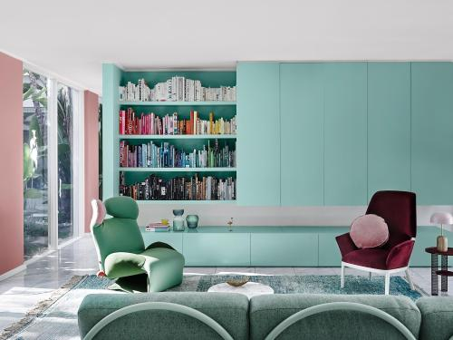 Mint green feature wall