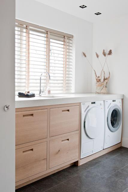 timber cabinetry laundry room