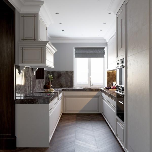 white kitchen - modern art deco