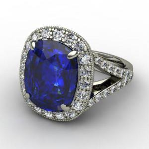Blue Sapphire Cushion Cut Engagement Ring