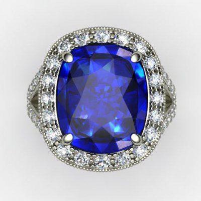 Blue Sapphire Cushion Cut Engagement Ring
