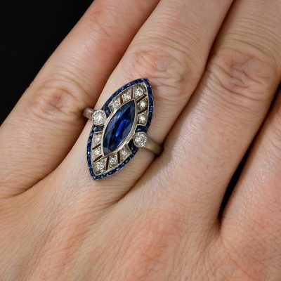 Marquise Blue Sapphire Diamond Art Deco Engagement Wedding Ring