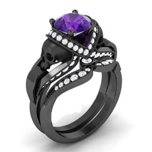 Purple Sapphire Diamond Skull Ring