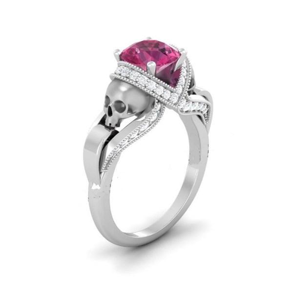 Pink Diamond Skull Ring