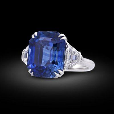 Asscher-Cut Blue Sapphire Ring