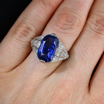 Oval Blue Sapphire Diamond Art Deco Engagement & Wedding Ring
