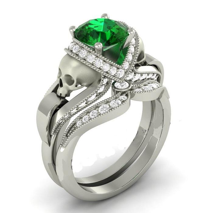 Green & White Diamond Silver Skull Ring