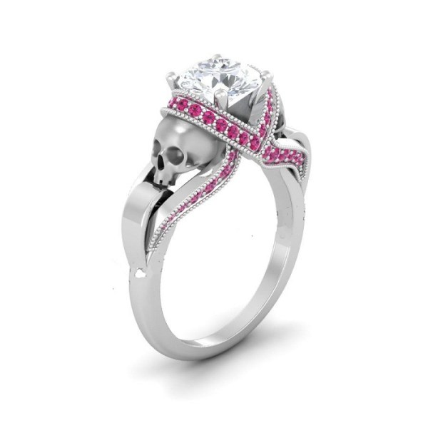 White & pink diamond silver skull ring