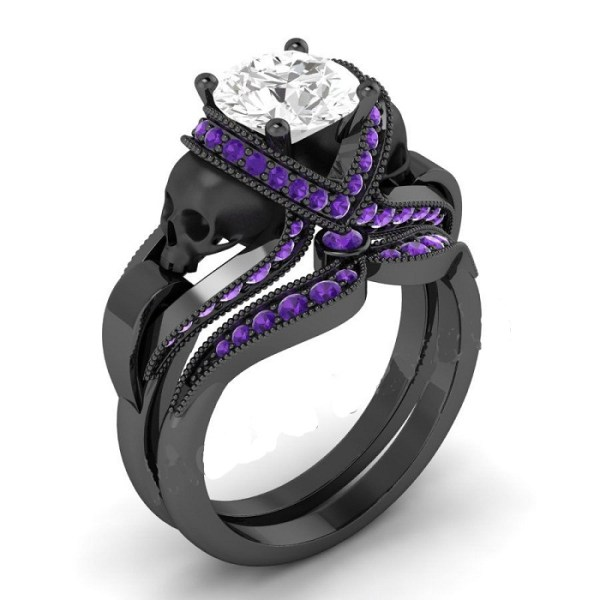 White diamond black skull ring