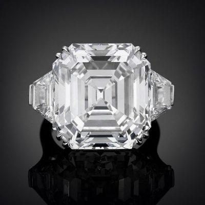 Asscher-Cut CZ Golconda Diamond Ring 22  Carats