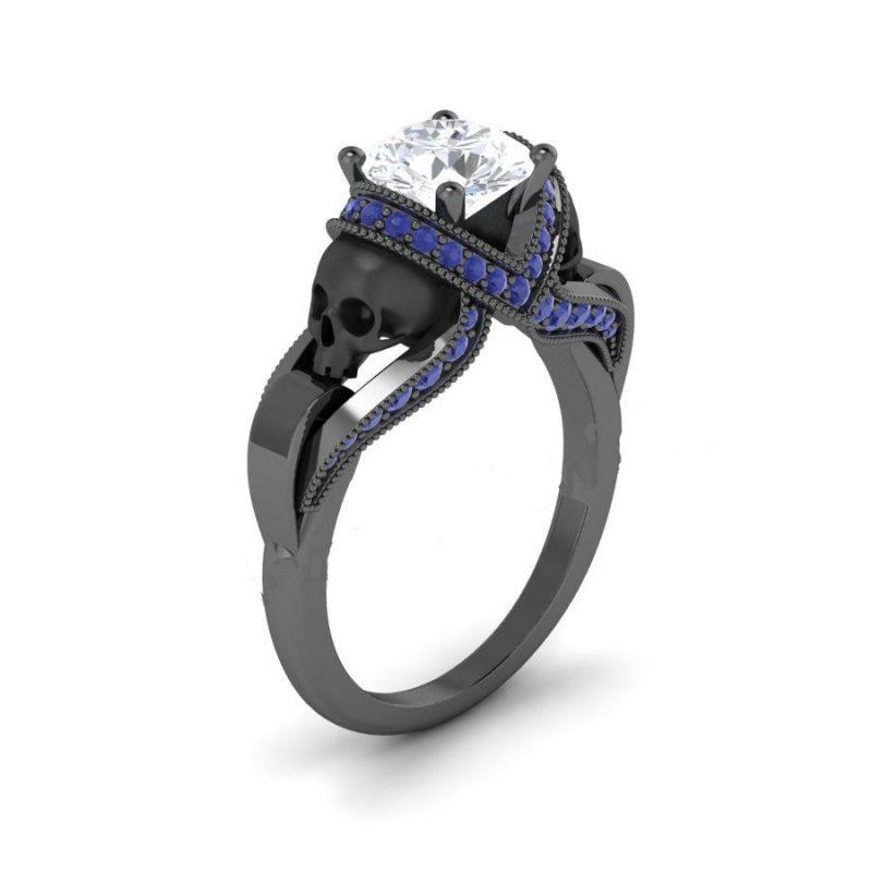 Blue & White Diamond Black Skull Ring