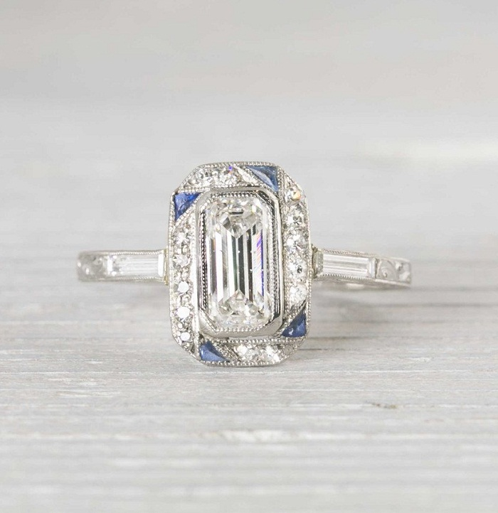 Emerald Cut DIAMOND ART DECO ENGAGEMENT WEDDING RING Diamond Loops