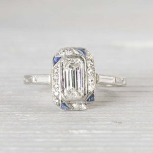 SAPPHIRE & DIAMOND ART DECO ENGAGEMENT RING
