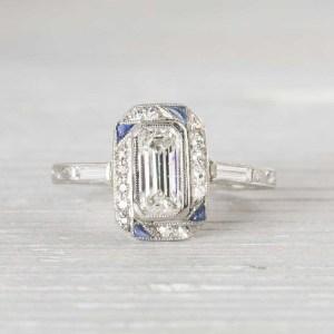 Emerald Cut DIAMOND ART DECO ENGAGEMENT WEDDING RING