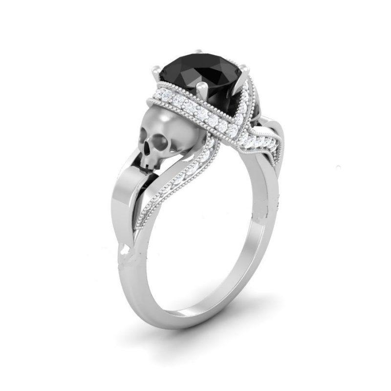 Black Rounded Diamond Skull Ring