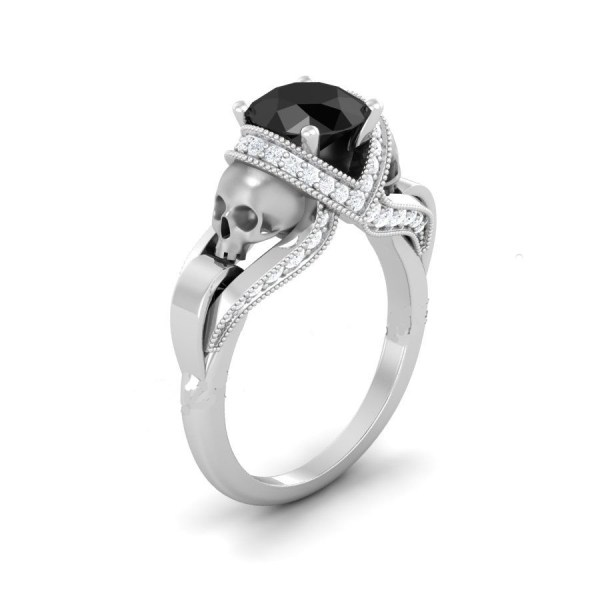 Silver Skull Rings with Black Diamond