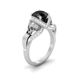 Black Rounded Diamond Skull Ring