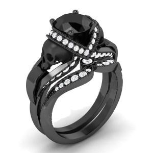 Full Black Diamond Skull Ring
