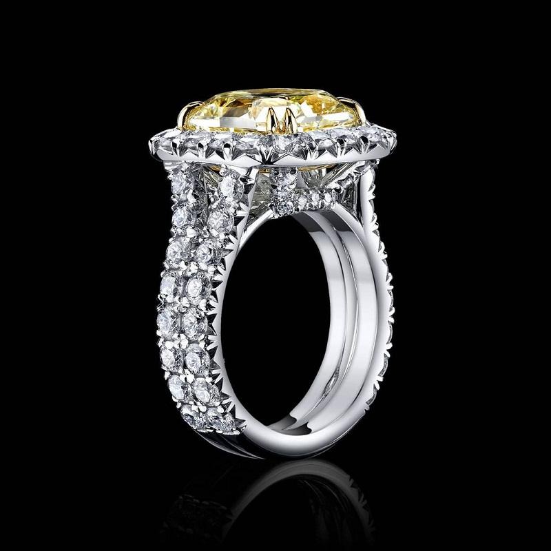 7Ct Canary Radiant Cut CZ Diamond Ring