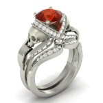 Red Diamond Skull Ring