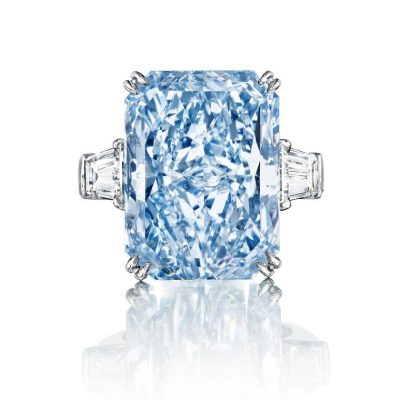 24 Ct Aqua Blue Emerald Cut Celebrity Inspired Ring