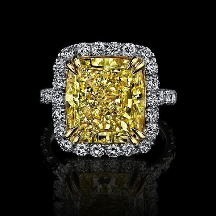 Yellow Fancy Cushion Cut Engagement Ring Women