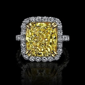 Yellow Fancy Cushion Cut Engagement Ring Women