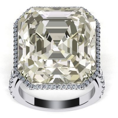 Yellow White Asscher Cut CZ Diamond Engagement & Wedding Ring