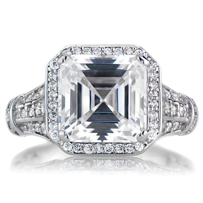 Asscher Cut Stunning Halo Diamond Engagement Ring