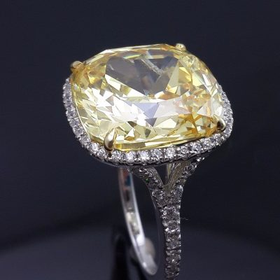 Yellow White Asscher Cut Halo Cocktail Party Ring