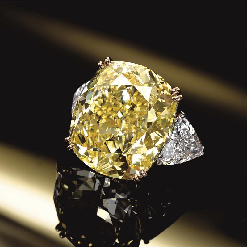 Yellow Cushion Cut Diamond Three Stone Engagement & Wedding Ring