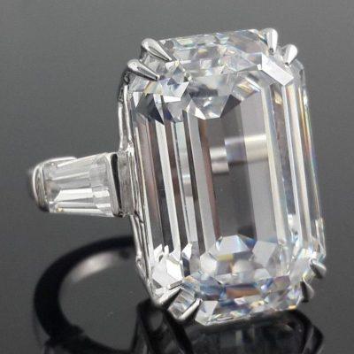 Mariah Carey inspired 30ct Emerald Baguette Engagement Ring