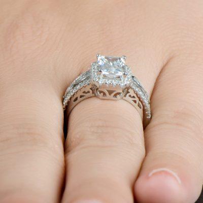 1.75Ct Art Deco Style Emerald Cut Diamond Engagement Ring