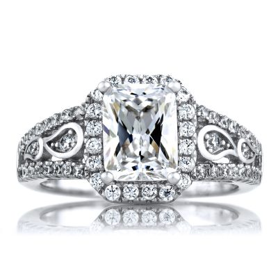 1.75Ct Art Deco Style Emerald Cut Diamond Engagement Ring
