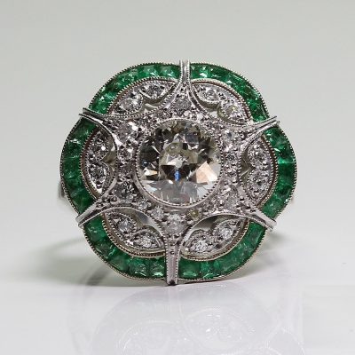 Antique art deco Round diamond and sapphire cocktail ring