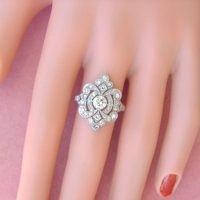 ART DECO STYLE DIAMOND ENGAGEMENT COCKTAIL RING