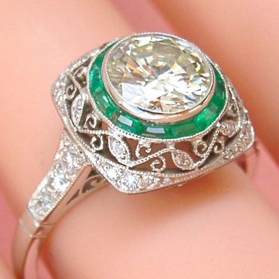 ESTATE DECO TRANSITIONAL DIAMOND EMERALD HALO ENGAGEMENT COCKTAIL RING
