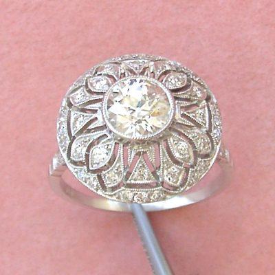 estate art deco diamond round cocktail engagement ring