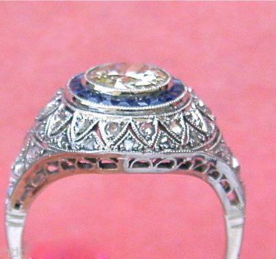 SAPPHIRE HALO DIAMOND ROUND ENGAGEMENT COCKTAIL RING